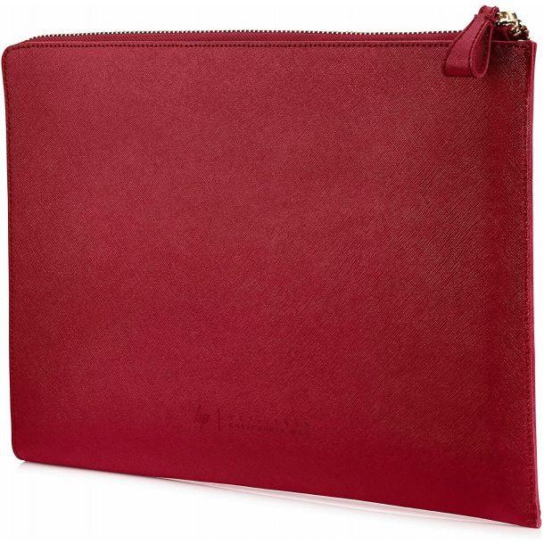 "HP Spectre 13.3"" L-Zip Leather Laptop Sleeve Case Empress Red 2HW35AA"