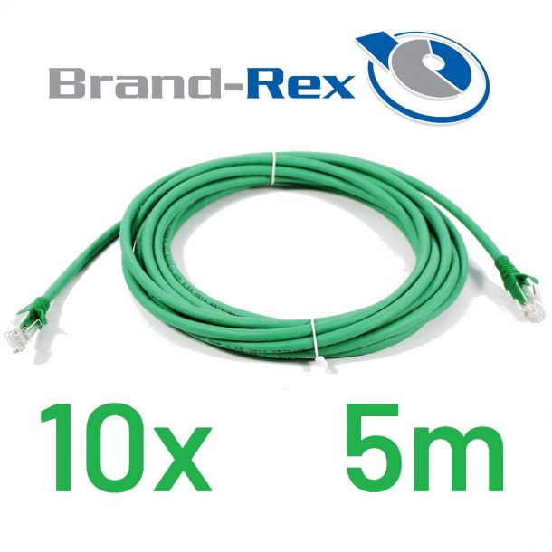 Lot of 10x Brand-Rex Cat6 5m Ethernet Network Patch Cable GREEN C6CPCU050-555HB