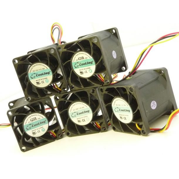 Lot of 5x CoolJag 38mm x 38mm 1U Server Cooling Fan 12V 1.92W 0.16A (Evercool)