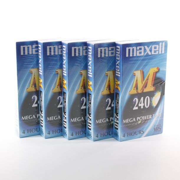 Lot of 5x Maxell M240 Mega Power Blank VHS Video Cassette Tape E-240M 4 Hour