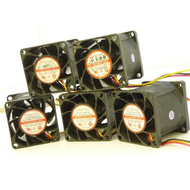 Lot of 5x Evercool 38mm x 38mm 1U Server Cooling Fan 12V 1.92W 0.16A EC3838M12BA