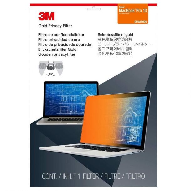 "3M GFNAP006 Gold Privacy Filter for Apple MacBook Pro 13"" Screen Protector"