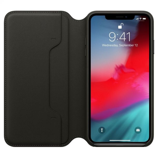 Apple iPhone Xs Max Black Leather Folio Case MRX22ZM/A (Genuine Apple)