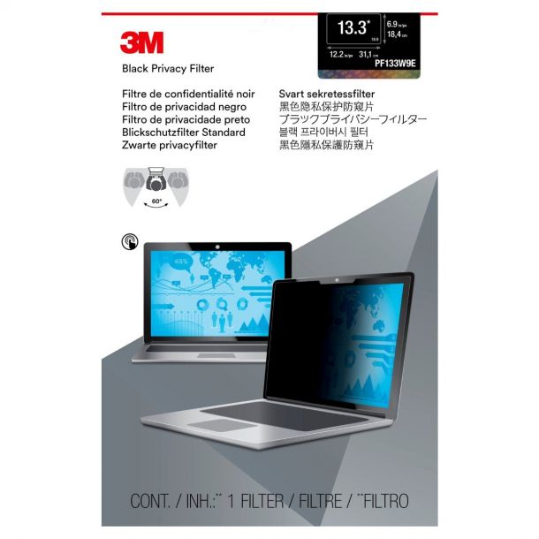 "3M PF133W9E Black Privacy Filter for 13.3"" 16:9 Touchscreen Laptops"