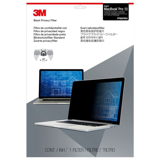 "3M PFNAP004 Black Privacy Filter for Apple MacBook Pro 2012-2015 13"" Retina Screen"