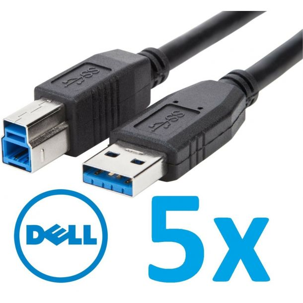 Lot of 5x Genuine Dell 1.8m USB 3.0 Type A to B Cable Black for Monitor / Dock PN81N / P57VD / 5KL2E