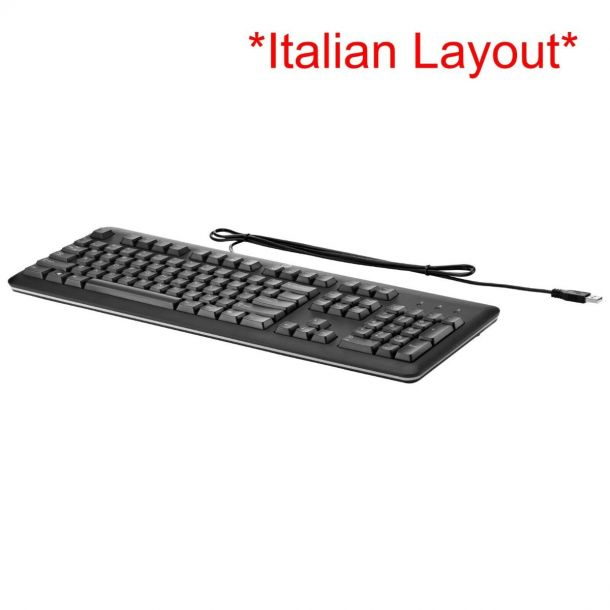 HP KU-1156 USB Keyboard ITALIAN Layout (QWERTY) Black QY776AA#ABZ