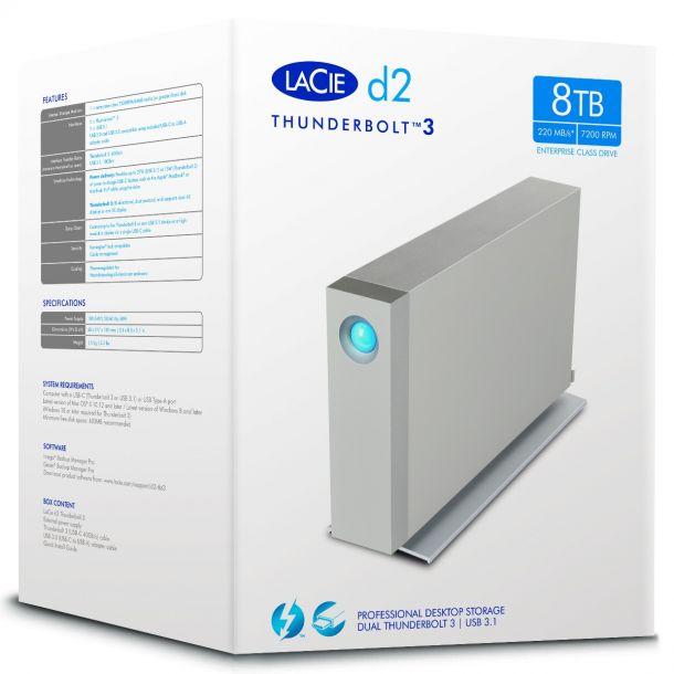 LaCie d2 Thunderbolt 3 8TB External Hard Disk Drive USB-C HDD STFY8000400